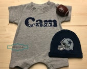 Dallas Cowboys Monogrammed Baby Romper, Personalized Baby Romper, Personalized Boy, Baby Shower Gift, Baby Picture Outfit, Cowboys Baby