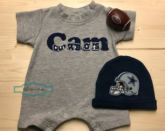Dallas cowboys personalized baby romper and hat set cowboys dallas cowboys monogrammed baby romper personalized baby romper personalized boy baby shower gift negle Gallery