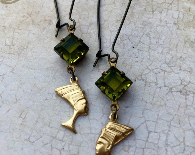 Jewelry Earrings Crystal Genuine Vintage Swarovski Nefertiti Charm Old Hollywood Glam
