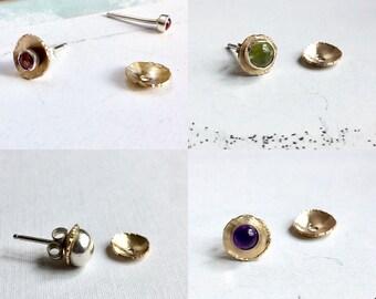 Bronze Ear Jacket, Earring Jacket, Gold Tone Ear Jacket, Ear Jackets, Metalsmith Ear Jacket, Tiny Ear Jacket, Stud Ear Jacket, Artisan