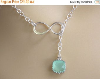 SALE Sterling Silver Infinity Lariat Necklace, Infinity Pendant, Glass, Mint Necklace, Eternity Necklace, Best Friend, Mom Gift, Bridesmaid