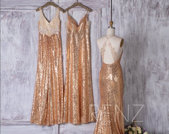 2017 Mix Match Gold Sequin Bridesmaid Dress, Mismatch Lace Wedding Dress, Long Luxury Ball Gown, Ball Gown Full Length (HQ408/HQ430/HQ433)