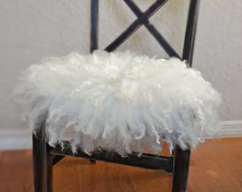 Felted Curly Wool Fluff Layer/ Mat/ Basket Stuffer Photo Prop, Ivory/Cream Wool Baby Blanket, READY TO SHIP