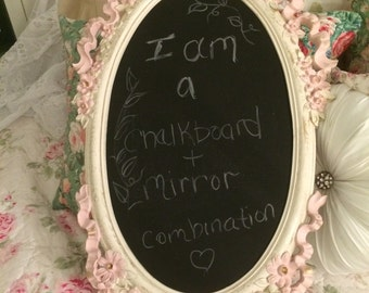 Framed mirror and chalkboard combo, baby girl, nursery, shabby chic ribbon and bows