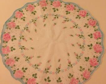 Vintage Pink Rose Round Handkerchief