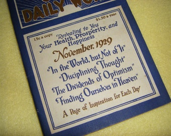 Unity Daily Word, November 1929 - vintage antique devotional book, Vol XI No 5, nonsectarian mailer published monthly