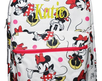Personalized Canvas Minny Mouse Print Disney School Backpack  FREE Monogram