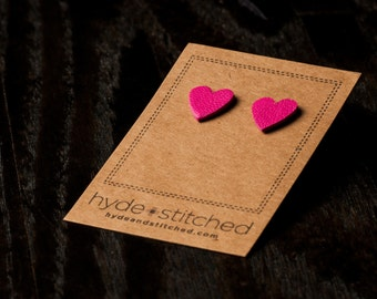 Bright Pink Love: heart shaped leather earring, pair of leather heart stud earrings, handmade leather jewelry