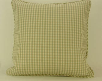 "18"" x 18"" Pillow Cover Seafoam Green Tan Checks Welting"