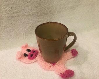 Crochet Pig Drink Coaster