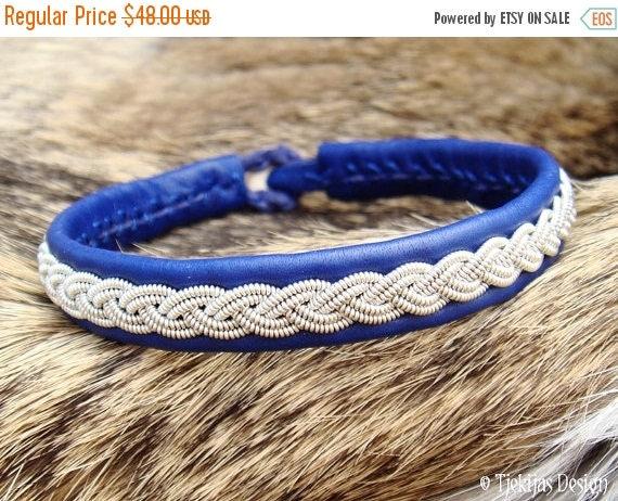 Tjekijas Sami Viking Leather Bracelet - Scandinavian Tribal Folk Art Jewelry LIDSKJALV Custom Handmade in Blue Reindeer with braided Pewter