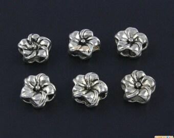 50Pcs Antique Silver Flower Bead Flower Charm Flower Bracelet Bead Flower Pendant 12mm (PND1536)