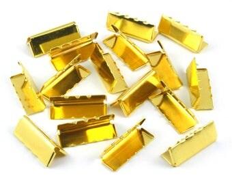 50 Pieces 26*10mm Gold Flat Ribbon Clamp End Crimp [1-1/32 inch]  (J-EC26)