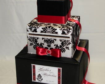 Damask Wedding Card Box -Rhinestone Accents(any color)