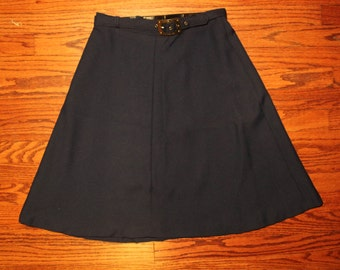 1970s Vintage Navy Blue Full Circle Skirt with Brass Belt