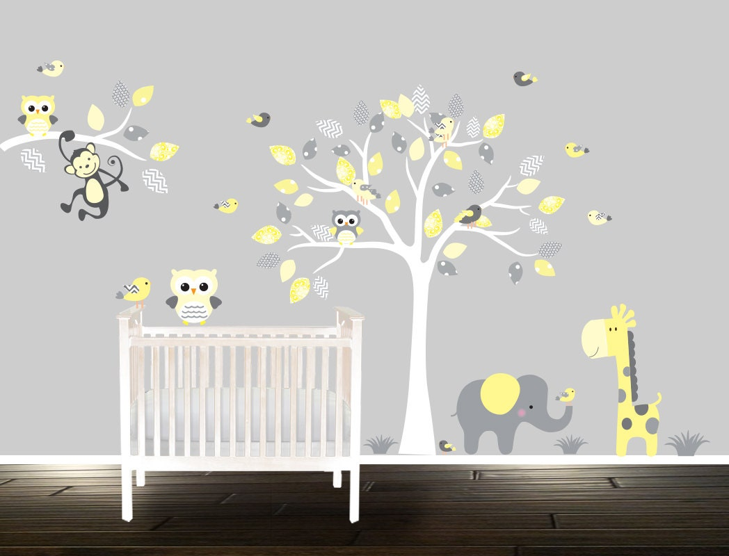 stickers muraux b b hibou enfants cr che d calque jaune. Black Bedroom Furniture Sets. Home Design Ideas