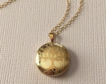 Gold Tree of Life Locket Necklace-Gold Round Locket - 14K Gold Fill Not Plated