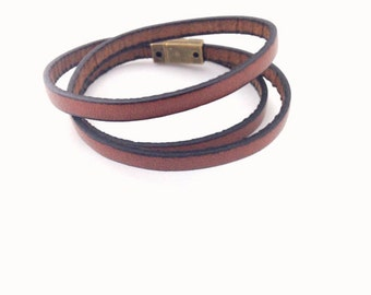 Brown Skinny Triple Leather Wrap Bracelet. Magnetic Clasp