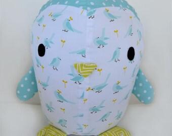 Organic Plush Stuffed Penguin using Cloud9 My Happy Nursery Fabric in Sky