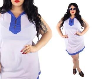 Plus Size 1960's Purple Colorblock Dress - Size XL