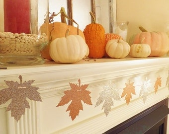 Autumn Glitter LEAF Garland ~ Thanksgiving Handmade Home Decor ~ Photo Prop