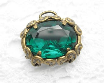 Filigree Wrapped Emerald Green Glass Jewel Pendant or Connector