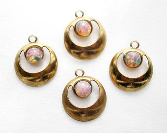 Four Pieces Antiqued Gold Charms with Pink Glass Opals