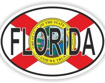 Florida USA Country Code Oval Sticker with Flag for Bumper Laptop Book Fridge Helmet ToolBox Door PC Hard Hat Tool Box Locker Truck