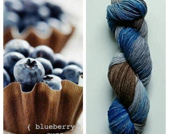 Blueberry Cups: hand dyed variegated Merino sock yarn by Star Fiber Studio