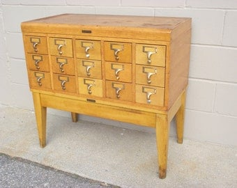 Card Catalog 15 Drawer Antique SOLID OAK - 3x5 Postcards Collection - Sectional - Gaylord Bros - Recipe Post Card - Wine Storage - TV Stand