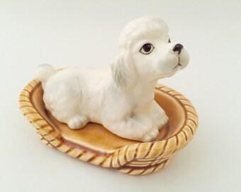 White Poodle Figurine - Vintage Poodle Dog Bed Basket - Miniature Poodle Figurines - Toy Poodle Ornament - Poodle Art