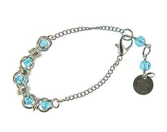 Silver Swarovski Captured Crystal Bracelet, chainmaille crystal bracelet, chainmail, caged crystal, sterling silver, captive crystal