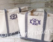 Embroidered Canvas Boat Tote Personalized - multiple sizes - several color choices - Bridesmaids gift - Baby Gift