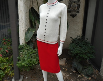 Vintage 1960's White Sweater - Size 10/12