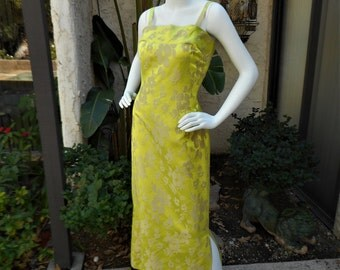 Vintage 1960's Chartreuse Floral Evening Dress - Size 12