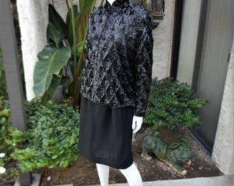 Vintage 1960's Black Sequin Jacket with a Mandarin Collar - Size 14