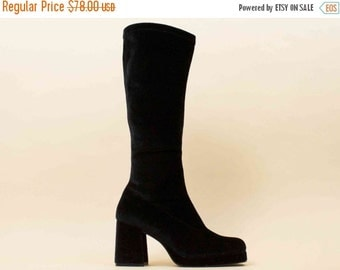 20% OFF 1DAY SALE 90s Vtg Black Velvet Knee High Bandage Chunky Platform Boots / Deadstock! Stretch Grunge Goth Zodiac 9.5 10 Eu 41 42