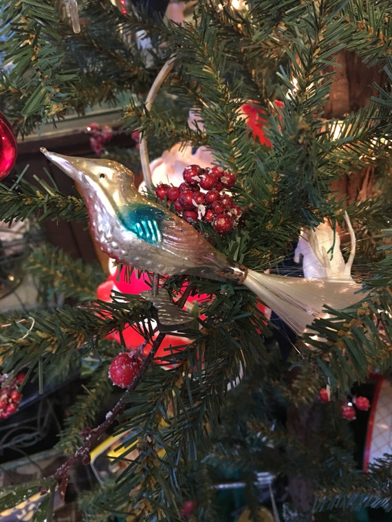 Red Silver & Blue Song Bird Clip On Christmas Ornament