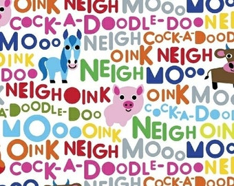FARM cotton print by the yard multicolor barn animal sounds words on white Windham Fabric 42167-1