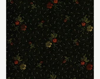 Moda fabric by 1/2 yard Kansas Troubles Quilters Favorites - tiny flowers on black 9165-18