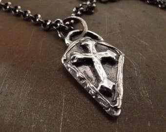 Medieval Shield Christian Cross Sterling Silver Pendant Necklace Handmade Jewelry for Men or Women