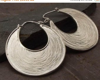 SPRING SALE 25% OFF Statement Large Circle Drop Shaped Pendant Sterling Silver Earrings Handmade Jewelry for Women