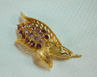 1980's Purple Rhinestone Hyacinth Fashion Brooch, Gold Plated Fashion Brooch