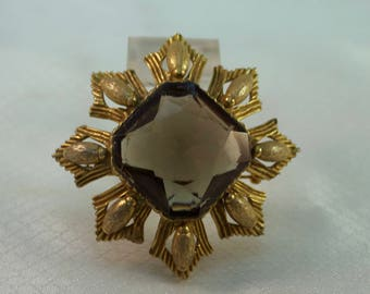Rare Original By Robert Faceted Smokey Quartz Glass Brooch