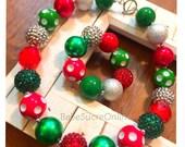 Holiday Christmas Chunky Bubblegum Bead Necklace, Bracelet