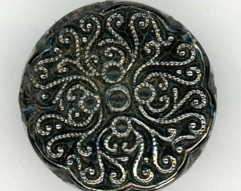 Lovely Vintage Black Glass Sewing Button with Lace Like Filigree Design in Silver Luster ~ just under 3/4 inch 18mm