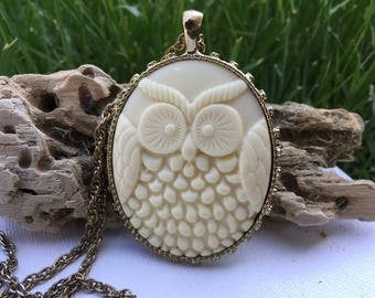Bold reversable owl pendant with chain.