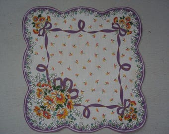 Vintage Scalloped Hanky  ~~ Floral Poseys Purple Yellow  FREE SHIPPING