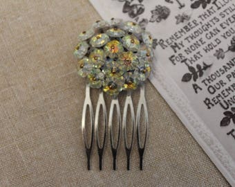 Vintage - Antique - Silver, Floral Bridal Hair Comb - Headpiece - Bridesmaid