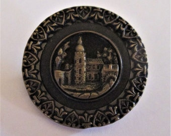 Antique Metal Castle Picture Button with Heart Border 1 7/16 inch